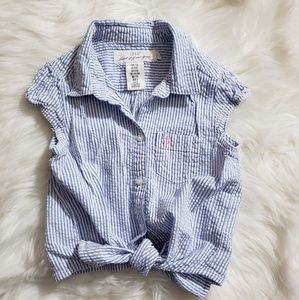 H&M button up tie front short sleeve